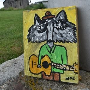 Original Folk Art Raccoon Playing Guitar